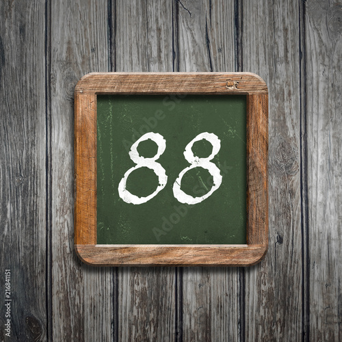 digit on a green blackboard - 216841151