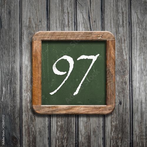 digit on a green blackboard - 216841352