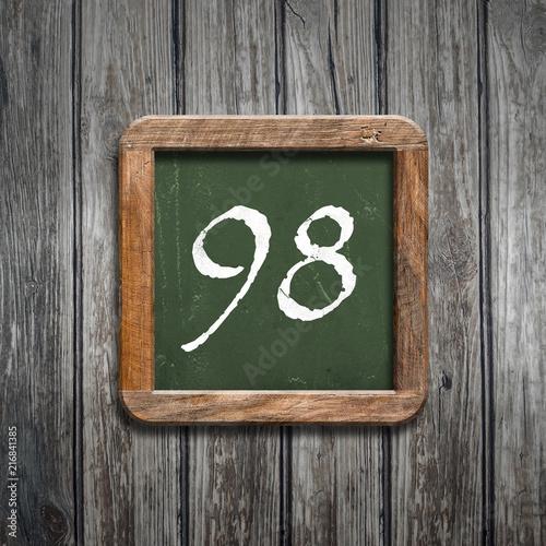 digit on a green blackboard - 216841385