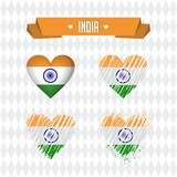 India with love. Design vector broken heart with flag inside.