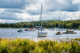Sailing Boats in Harbour on a Beautiful Lake on a Cloudy Spring Day. Lake District, Cumbria, England. - 216848500