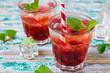 Leinwandbild Motiv Drink with strawberry syrup
