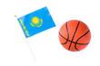 Kazakh flag and basketball isolated on white background