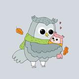 Cartoon cute Autumn owls hugging vector.