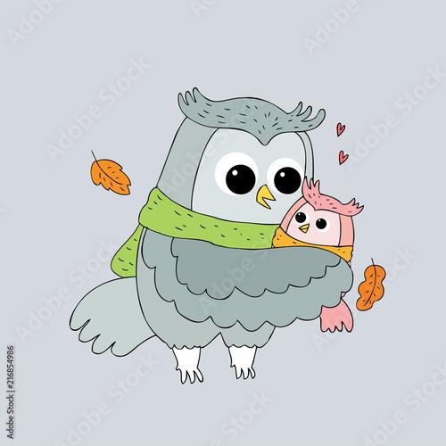 Fotobehang Uilen cartoon Cartoon cute Autumn owls hugging vector.
