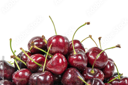 Foto Spatwand Kersen close up of ripe red cherries on white background