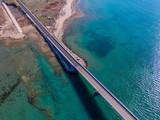 Aerial view of bridge to island Vir over Adriatic sea, Zadar county, Croatia, Mediterranean