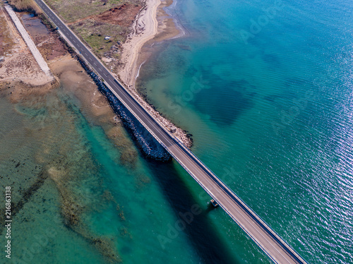 Obraz na płótnie Aerial view of bridge to island Vir over Adriatic sea, Zadar county, Croatia, Mediterranean