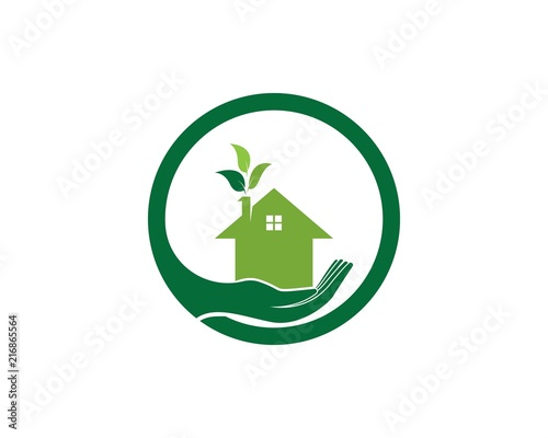 Building home nature logo vector template - 216865564