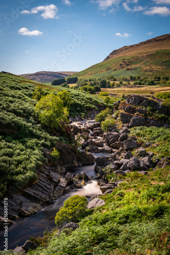 Plexiglas Zwart Elan valley reservoirs in a dry and very hot summer time in the welsh countryside