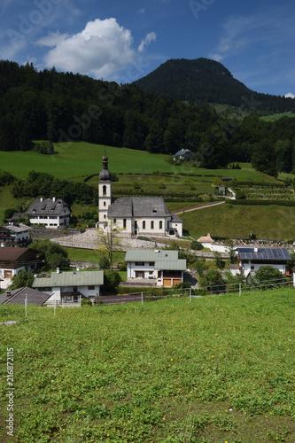 Foto Spatwand Zwart Ramsau ,Bayern, Deutschland - Juli 29, 2018 : Alpenidylle rund um Ramsau.