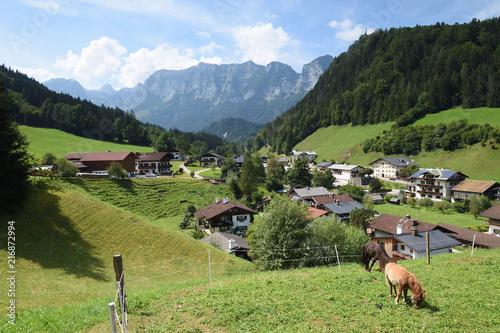 Canvas Pistache Ramsau ,Bayern, Deutschland - Juli 29, 2018 : Alpenidylle rund um Ramsau.
