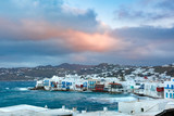 Famous view of Mikri Venetia or Little Venice at sunrise in Mykonos City, Chora, on the island Mykonos, The island of the winds, Greece - 216873143