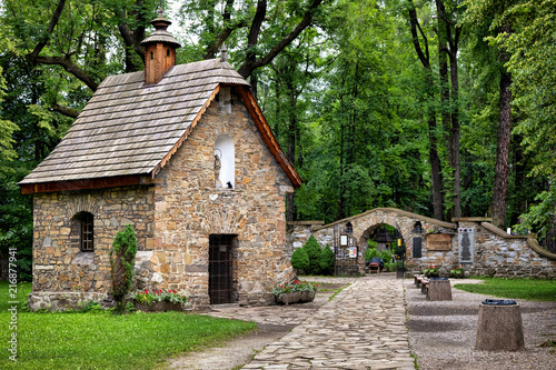 Old Town of Zakopane, Poland. Historic Gasienica Chapel - first sacred building in Zakopane. It was built around 1800