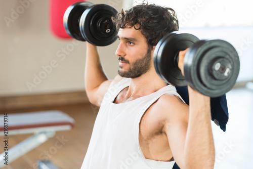 Fridge magnet Bodybuilder lifting dumbbells