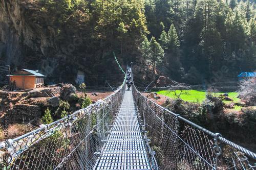 Obraz na płótnie Hanging suspension bridge in Nepal.