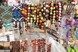 Souvenirs in the Amazon rainforest made from local nuts and animals near Iquitos.