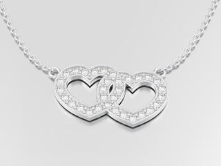 3D illustration jewelry two hearts white gold or silver diamond necklace on chain