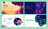 Set of web page design templates for beauty, spa, wellness, natural products, cosmetics, body care, healthy life. Modern vector illustration concepts for website and mobile website development.  - 216899155