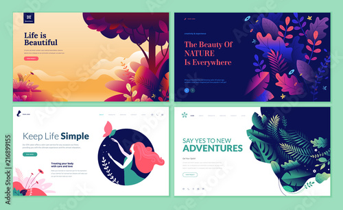 Canvas Hoogte schaal Set of web page design templates for beauty, spa, wellness, natural products, cosmetics, body care, healthy life. Modern vector illustration concepts for website and mobile website development.