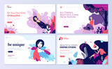 Set of web page design templates for beauty, spa, wellness, natural products, cosmetics, body care, healthy life. Modern vector illustration concepts for website and mobile website development.  - 216899330