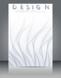 Abstract wavy lines background with grey & white colors, ideal for business, brochure cover designs. - 216899338