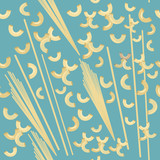 Abstract vector food pasta pattern on blue background - 216900332