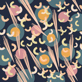 Abstract vector pattern pink macaroni on dark blue background - 216900539
