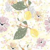 Abstract vector pattern with lemon flowers Japanese style - 216900721