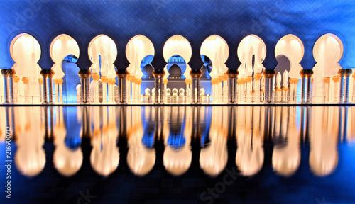 Foto Spatwand Abu Dhabi Sheikh Zayed Grand Mosque in Abu Dhabi at Dusk
