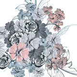 Beautiful floral illustration with vintage flowers - 216901179