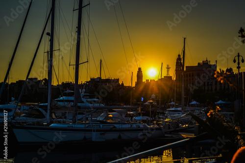Canvas Barcelona Sunset in Barcelona