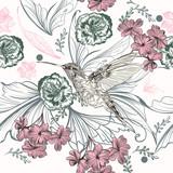 Beautiful floral pattern with hummingbird and rose flowers - 216901589
