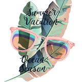 Beautiful summer poster with banana palm leafs and sun glasses, vacations - 216901996