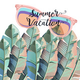 Beautiful summer poster with palm leafs and sun glasses, vacations - 216902371