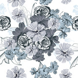 Beautiful floral pattern with vintage flowers - 216902379