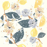 Lemon branches pattern, illustration in vintage style - 216902746