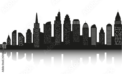 Fridge magnet Modern landscape. City skyscrapers building office horizon  on white background. Can be used for green city, recreation zone. Vector Illustration.