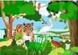 Syrdarya river fauna, tiger, pheasant, birds, forest, vector illustration