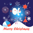 Greeting card with snowman and snowflakes - 216917505