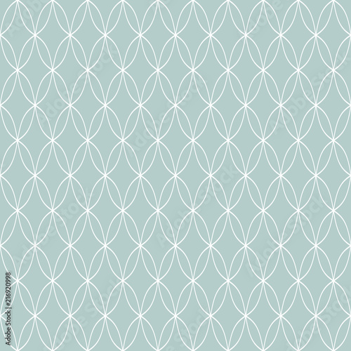 Seamless ornament. Modern background. Geometric modern blue and white wavy pattern - 216920998