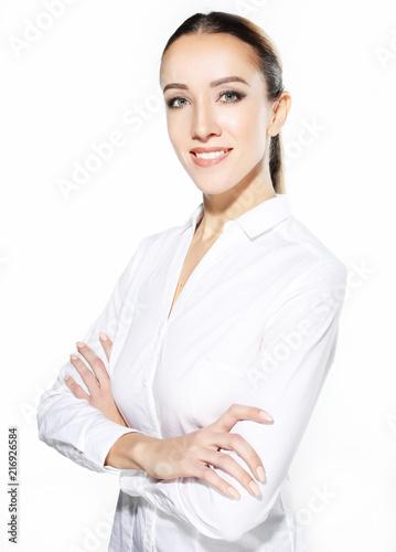 Leinwandbild Motiv lifestyle, business  and people concept: Business woman portrait