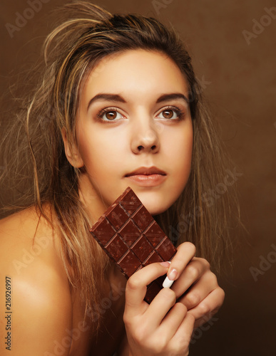 Lifestyle People And Food Concept Beautiful Girl With Chocolate