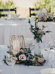 Creative wedding decoration on wedding table © Laszlo