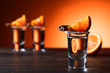Leinwanddruck Bild - Glasses of tequila with orange and cinnamon.