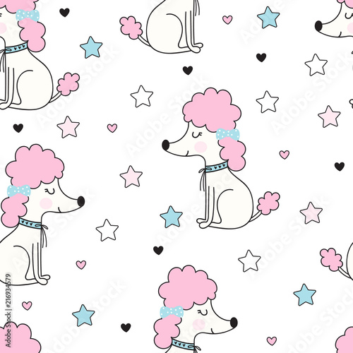 obraz PCV Seamless pattern with funny poodle dog