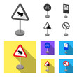 Different types of road signs monochrome,flat icons in set collection for design. Warning and prohibition signs vector symbol stock web illustration.