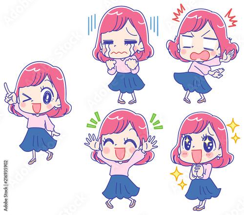20代のかわいいOLのイラスト 様々な表情 - 216935902
