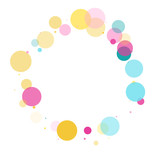 Memphis round confetti festive background in cyan blue, pink and yellow. Childish pattern vector. - 216937519