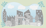 Paper art style of cityscape